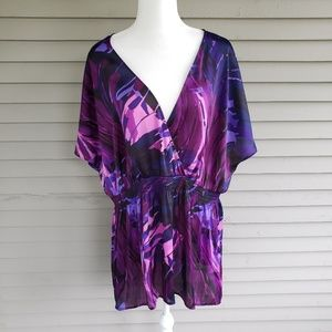 Lane Bryant Purple Silky Blouse Size 26/38 HOLE